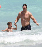 Mark Wahlberg enjoyed a day at the beach in Miami with his four children and his wife, Rhea Durham.