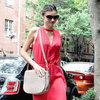 Miranda Kerr Wearing a Coral Cutout Dress
