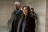 Morgan Freeman and Marion Cotillard in The Dark Knight Rises.  Photo courtesy of Warner Bros.