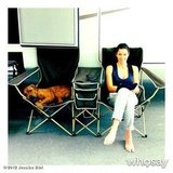 Jessica Biel shared a photo of herself and her dog, Tina, on the set of Total Recall. Source: Jessica Biel on WhoSay