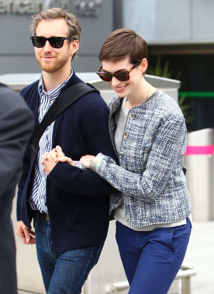 Anne Hathaway and Adam Shulman showed PDA.