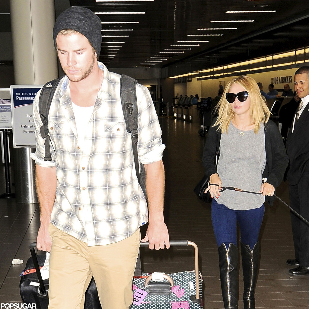 Miley Cyrus and Liam Hemsworth caught a flight.
