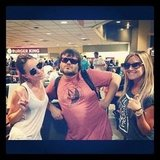 Ashley Tisdale and Samantha Droke had a chance run-in with Jack Black as they waited for their delayed flight. Source: Instagram user ashleytis