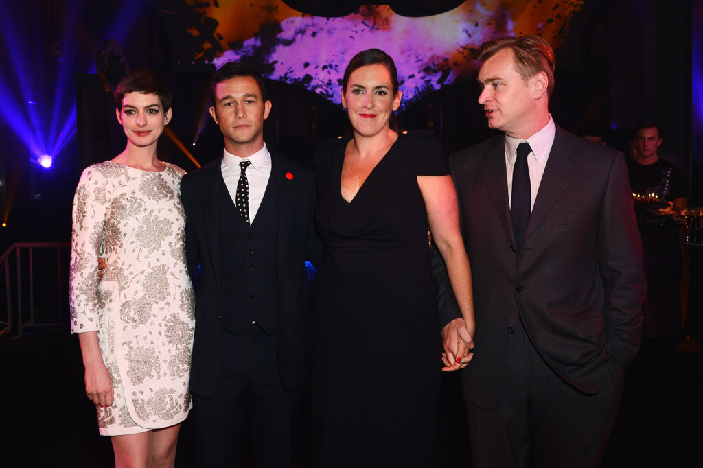 Anne Hathaway, Joseph Gordon-Levitt, and Christopher Nolan at the London afterparty for The Dark Knight Rises.