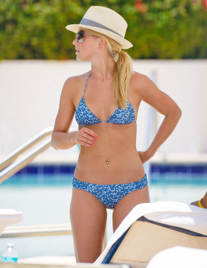 Julianne Hough rocked a printed bikini poolside in May 2011 in Miami.