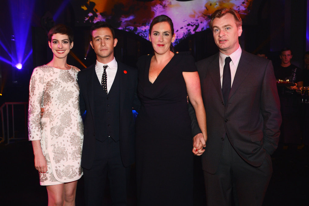 Actors Anne Hathaway and Joseph Gordon-Levitt posed with director Christopher Nolan.