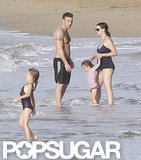 Shirtless Ben Affleck had a beach day with his family.