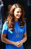 Kate Middleton had her brown locks curled.