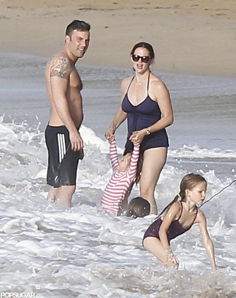The Garner-Affleck family hit the beach in Puerto Rico in July 2012.