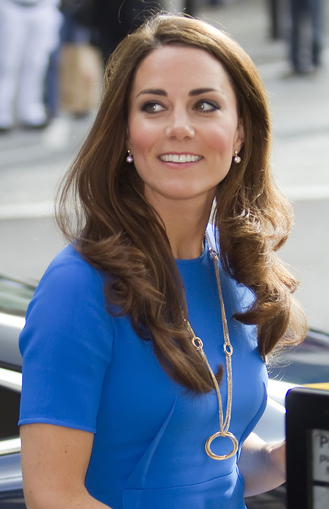 Kate Middleton smiled in Stella McCartney.