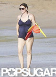 Jennifer Garner wore a swimsuit on the beach.