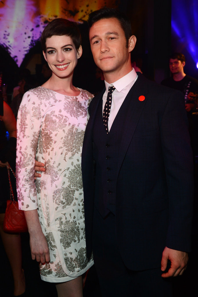 Anne Hathaway and Joseph Gordon-Levitt at the afterparty for their new film.