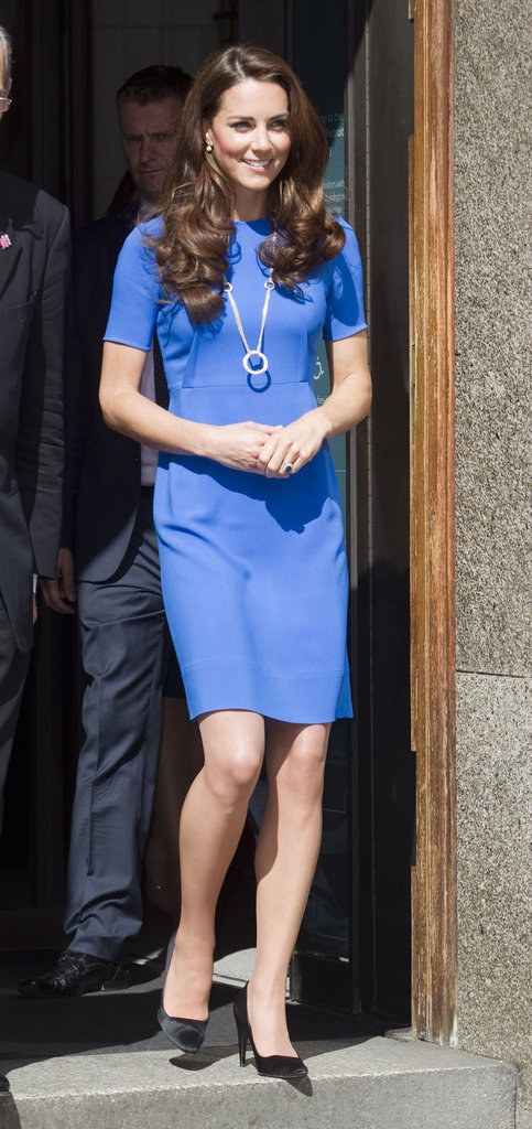 Kate Middleton wore blue Stella McCartney.