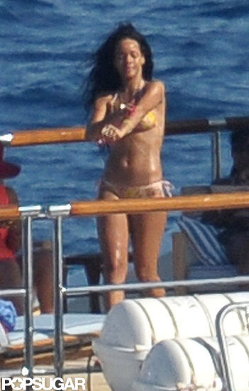 Rihanna relaxed on deck in a two-piece swimsuit.