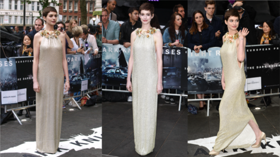 See Anne Hathaway Light Up Her London Premiere in Gold Gucci