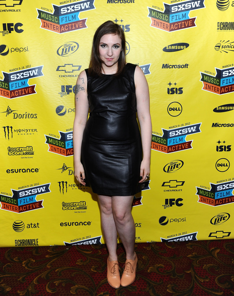 Lena offset a tough leather LBD with neutral-toned laceup flats at 2012 SXSW.