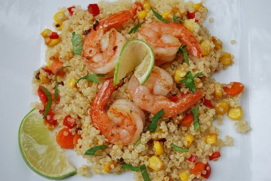 Ginger-Lime Shrimp With Red Pepper and Corn Quinoa