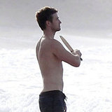Justin Timberlake took a break from filming to hang out on the beach.