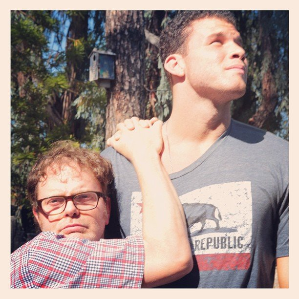 Rainn Wilson clung tight to basketball star Blake Griffin. Source: Instagram user rainnwilson