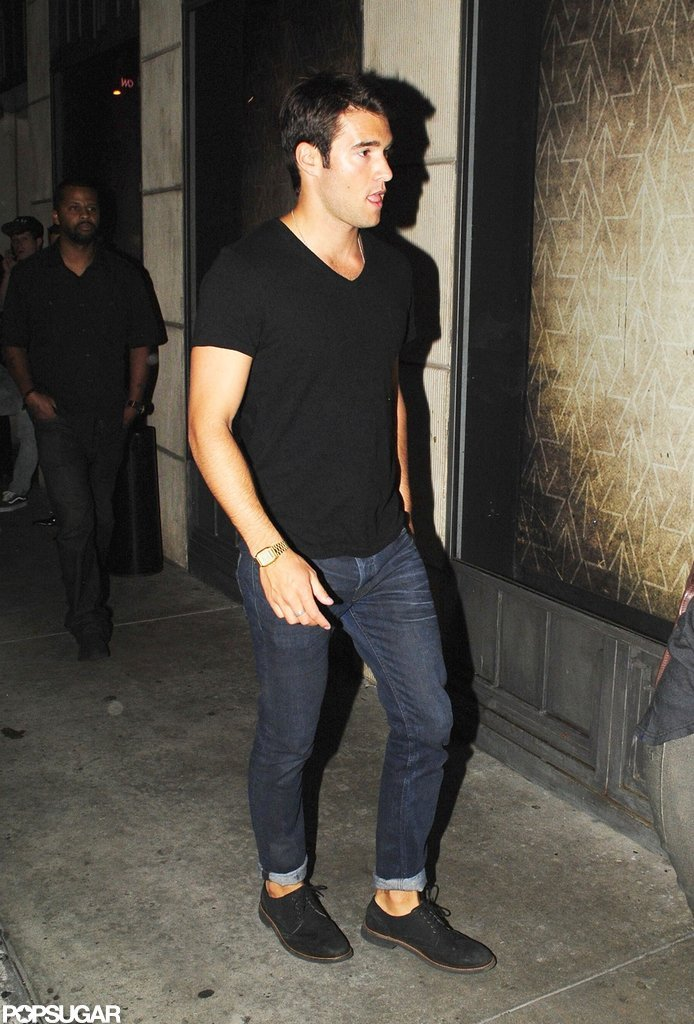 Josh Bowman sported a laid-back look in jeans and a black t-shirt.