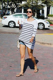 Alessandra Ambrosio showed off her classic stripes with another Summer classic: cutoffs.