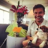 Ryan Seacrest posed with Julianne Hough's dog. Source: Instagram user ryanseacrest