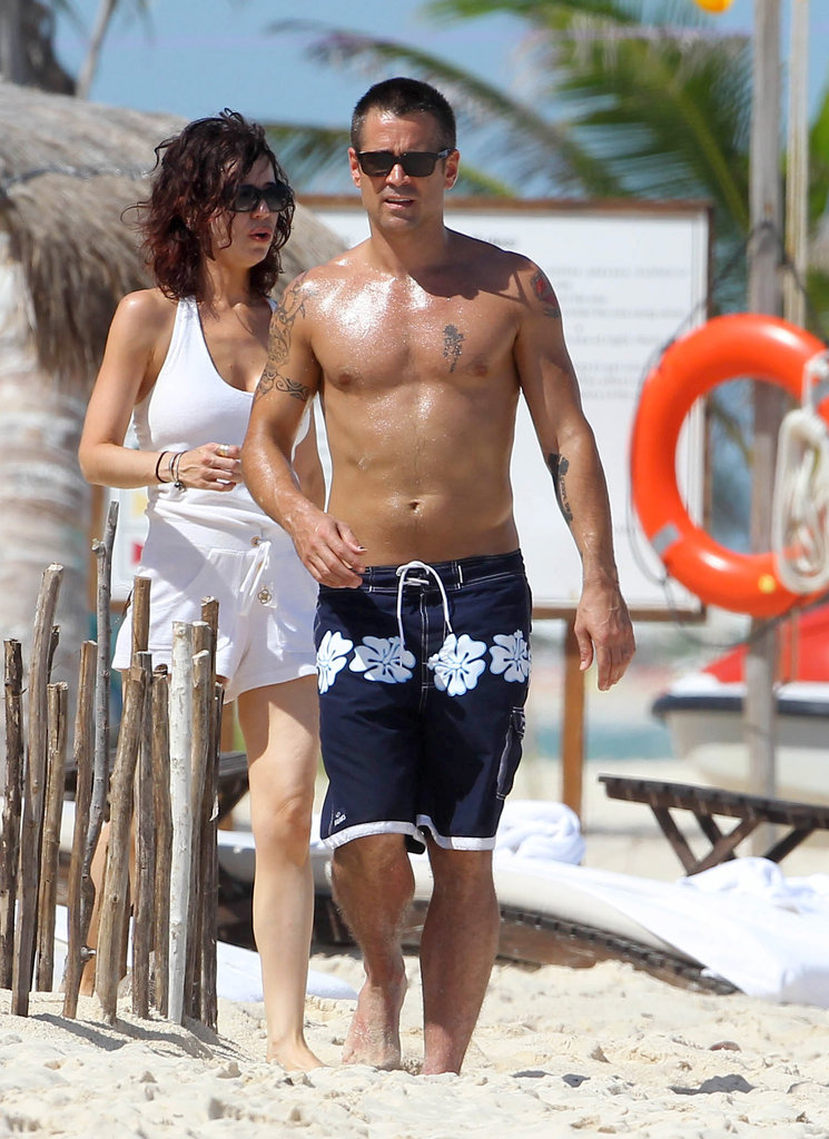 Colin Farrell showed off his tattoos and shirtless chest.