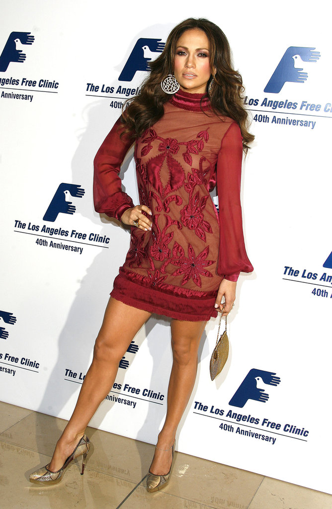 Jennifer Lopez showed leg at a gala in Beverly Hills in November 2006.