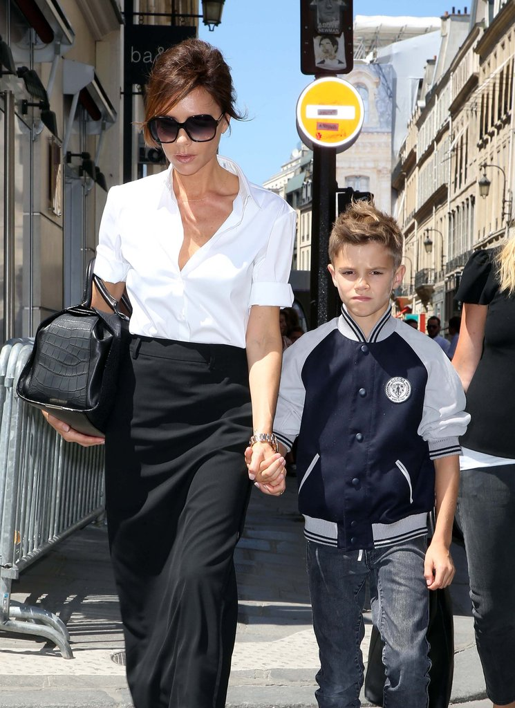 Victoria Beckham brought Romeo to Paris.