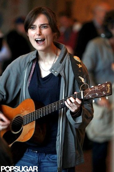 Keira Knightley shoots a scene for Can a Song Save Your Life?.
