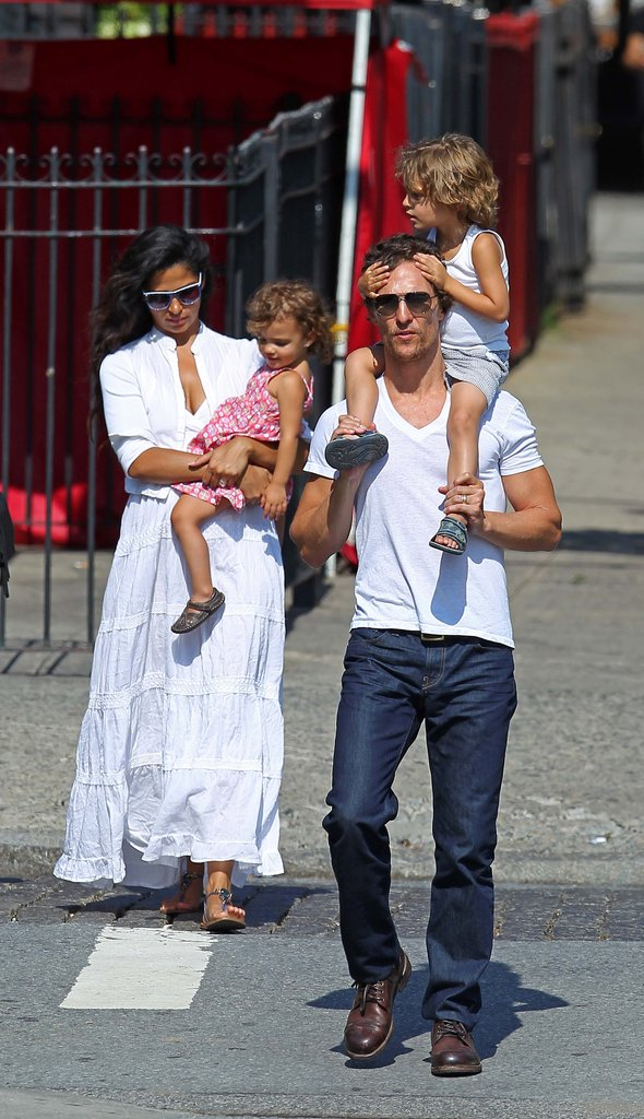 Matthew McConaughey, Camila Alves, Levi McConaughey, and Vida McConaughey walked in NYC.