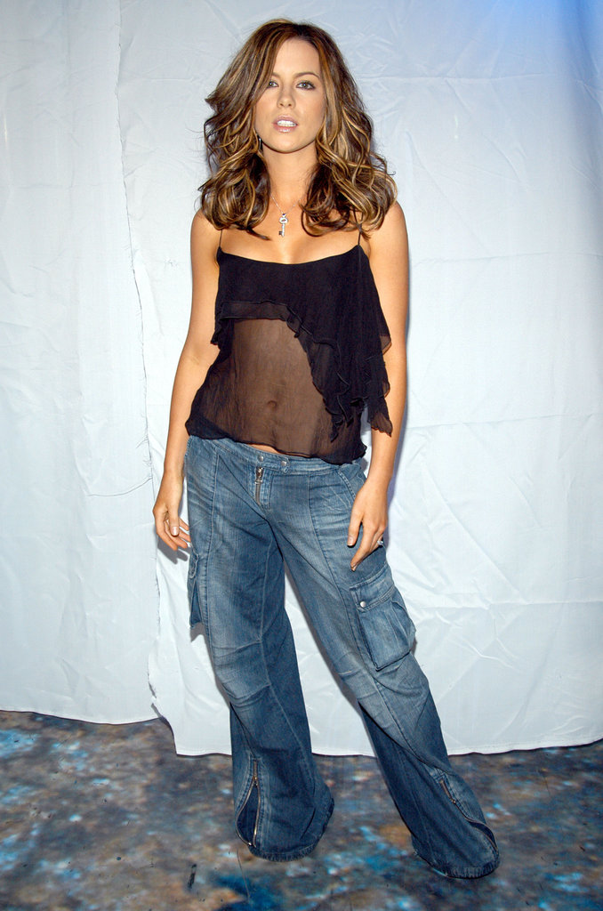 Kate Beckinsale wore a sheer shirt during a September 2003 visit to the TRL studios in NYC.