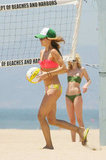 AnnaLynne McCord ran with a volleyball in her bikini.