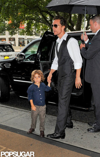 Matthew McConaughey and his son, Levi McConaughey, arrived at the Empire Hotel in NYC.