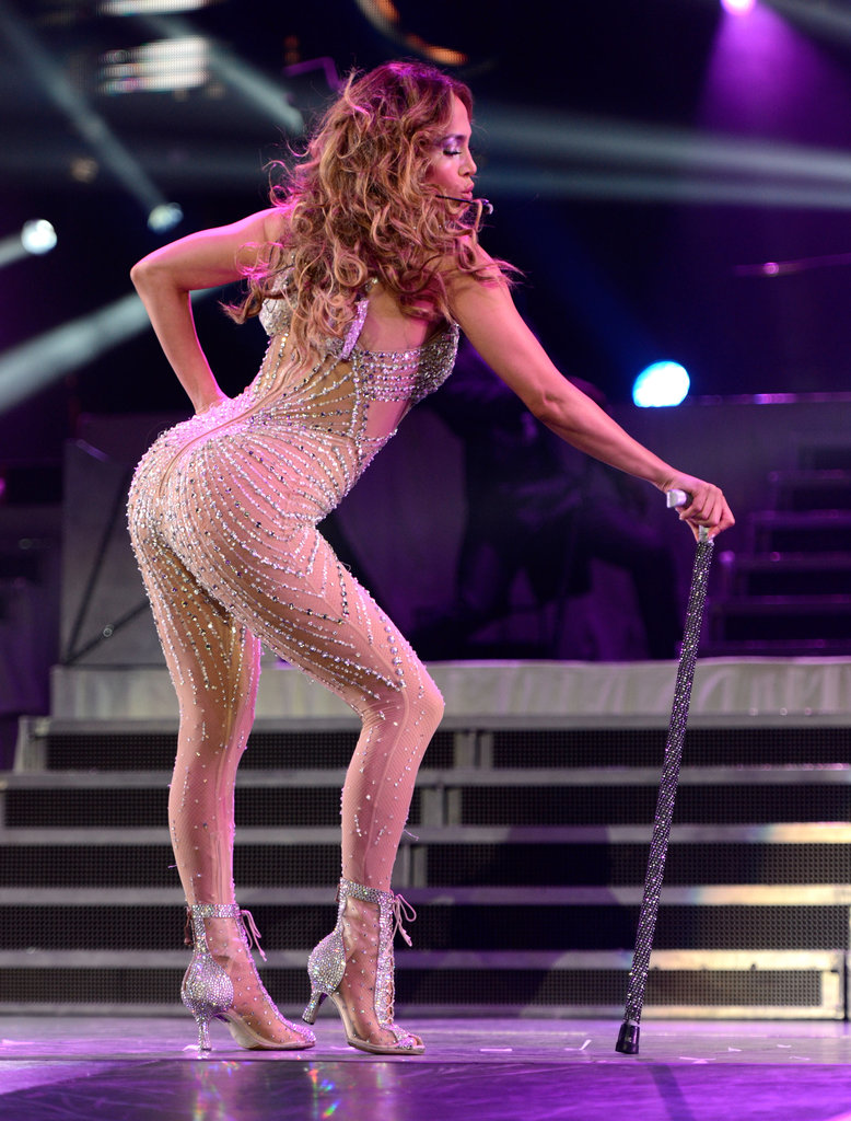 Jennifer Lopez sported a see-through suit while touring in New Jersey in July 2012.