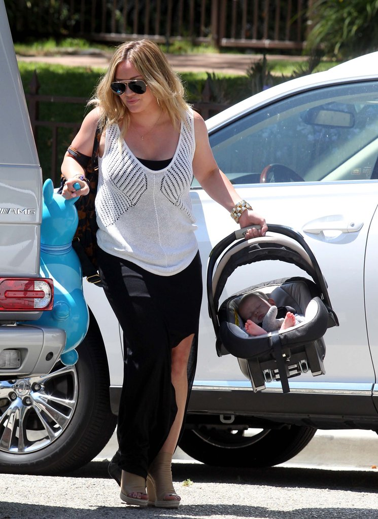 Hilary Duff locked her car while carrying Luca in LA.
