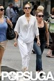 Jennifer Lopez donned a white jumpsuit in NYC.