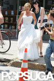 Amy Poehler in a bridal gown.