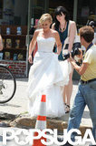 Amy Poehler wore a pouffy wedding gown.