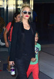 Gwen Stefani Heads to NYC With Blue-Haired Kingston