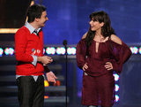 Jimmy Fallon joined Sandra Bullock on stage at the 2005 MTV Movie Awards in LA.