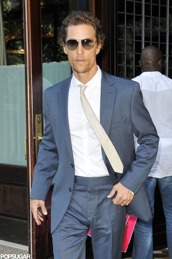 Matthew McConaughey wore a suit leaving his NYC hotel.