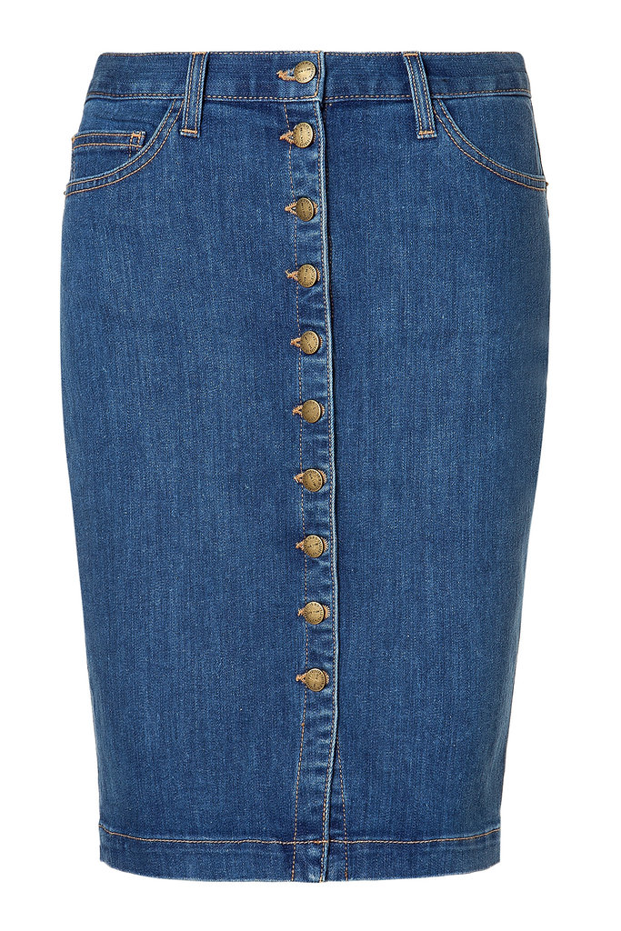 We spotted Kirsten Dunst wearing these with a crisp white tie-front blouse recently, so, of course, we want a pair too. Current/Elliott The Dorothy Comet Denim Skirt ($115, originally $230)