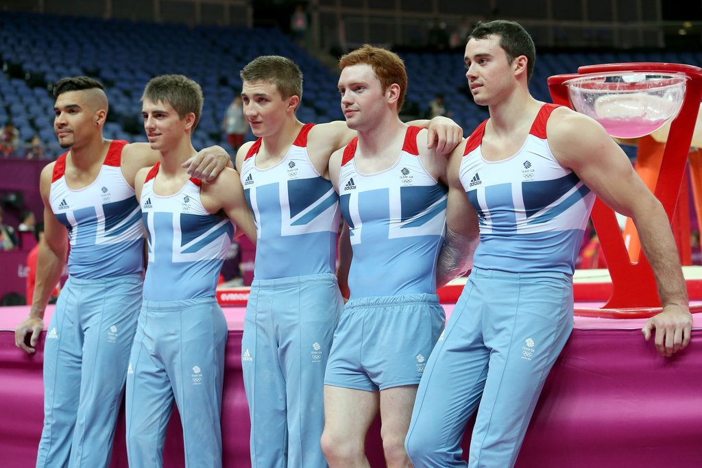 A few gymnasts from Great Britain's artistic men's team pause for a group shot.