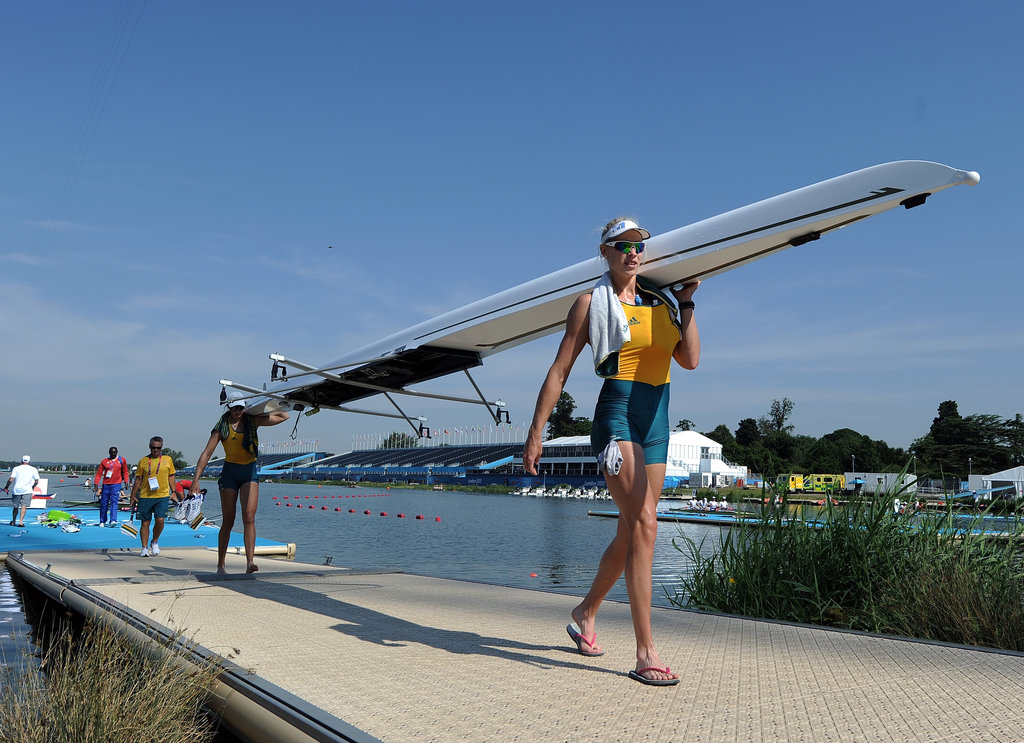 An Australian rowing pair makes their way back from practice from Eton Dorney, one of many venues that sits outside of London's city limits.