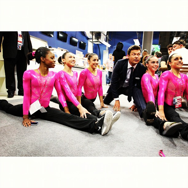 Ryan Seacrest learned the splits from the USA gymnastics team. Source: Instagram user ryanseacrest