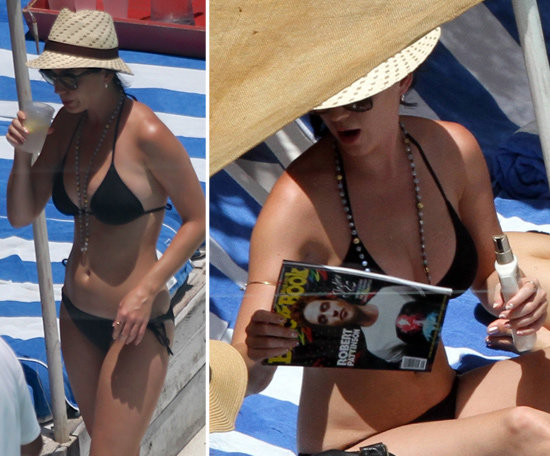 Katy Perry Wears a Bikini and Reads Up on Rob Pattinson