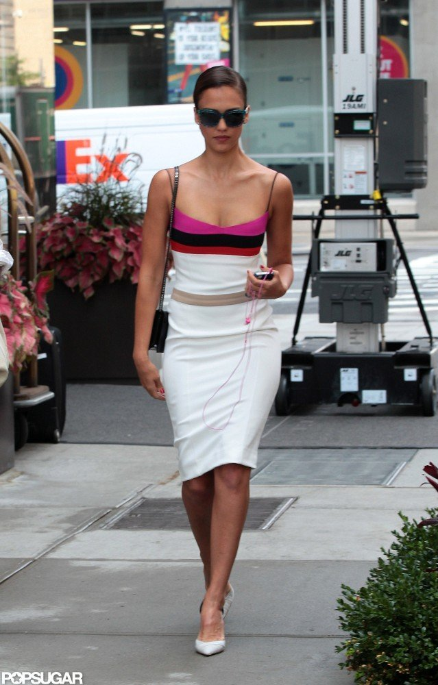 Jessica Alba left her hotel in NYC.