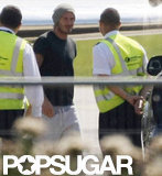 David Beckham greeted airport staff.