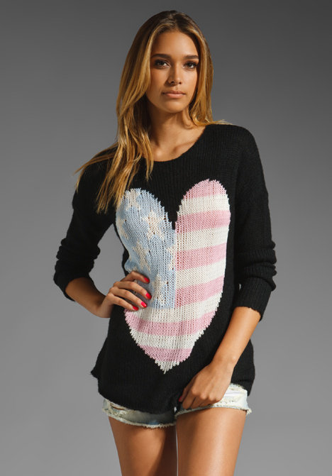 Beat the chill when the temperatures cool by slipping on this cute American flag-print knit.  Wildfox Couture Billy USA Heart Sweater ($231)
